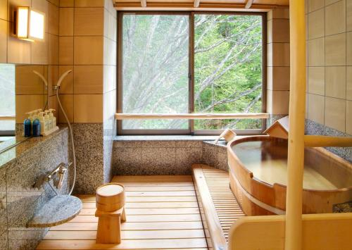 A bathroom at Kamikochi Lemeiesta Hotel