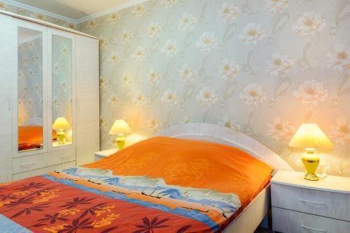 Кровать или кровати в номере Apartment TwoPillows on Lenina 52