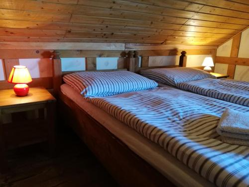 A bed or beds in a room at Restaurant Pension-Anton