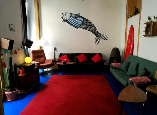 A seating area at Goodnight Hostel