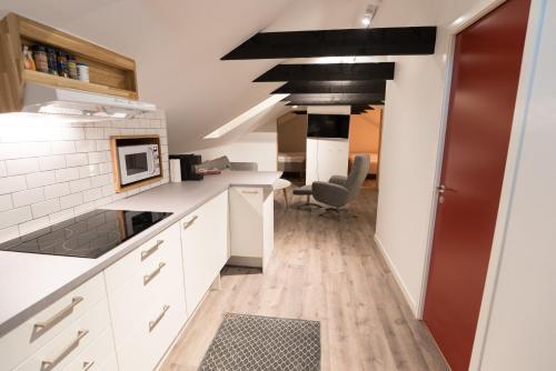 Ett kök eller pentry på Parkvillan