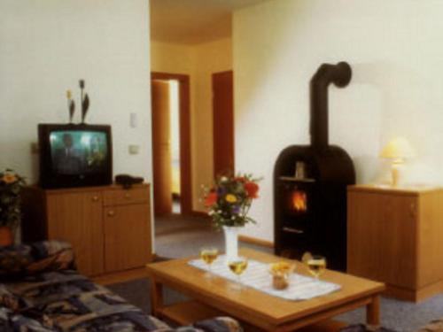 A television and/or entertainment center at Detached holiday home with a wood stove, in the Bruchttal