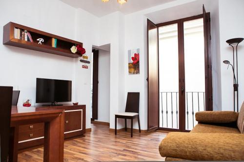 Una televisión o centro de entretenimiento en Apartamentos Casa de la Lonja
