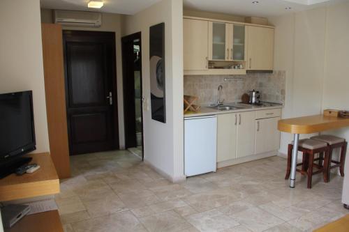 Кухня или мини-кухня в Villanaz Apart Hotel