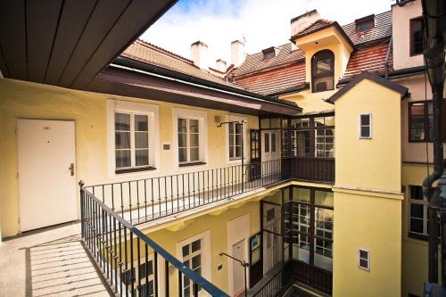 A balcony or terrace at U Zlate Podkovy - At The Golden Horseshoe
