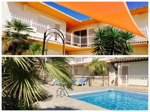 Der Swimmingpool an oder in der Nähe von Amerique Hotel Palavas Montpellier Sud -LOGIS-