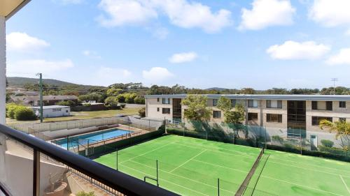 A view of the pool at 'The Dunes' Opposite Fingal Bay Surf Club! or nearby