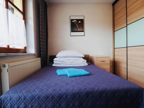Łóżko lub łóżka w pokoju w obiekcie Apartament w Pieninach