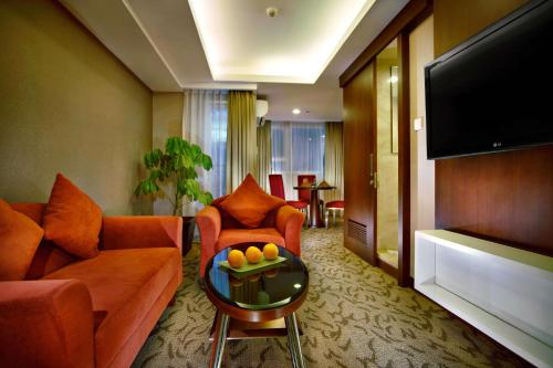 A seating area at Aston Pluit Hotel & Residence