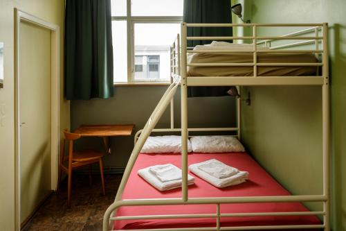 A bunk bed or bunk beds in a room at Hostel Skogar