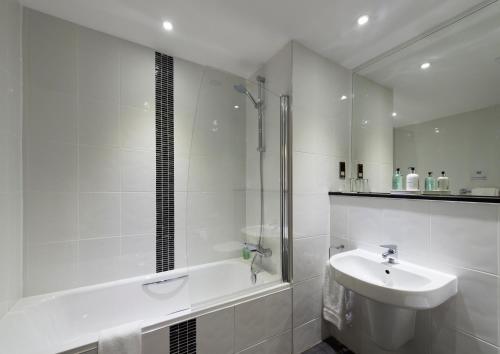 A bathroom at New Lanark Mill Hotel