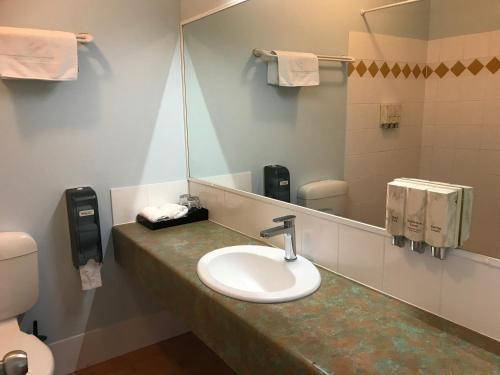 A bathroom at Springwood Motor Inn
