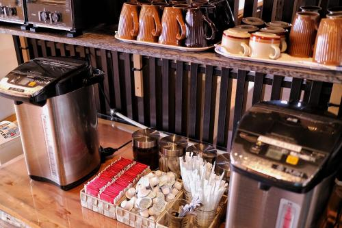Coffee and tea-making facilities at Kaede Guesthouse