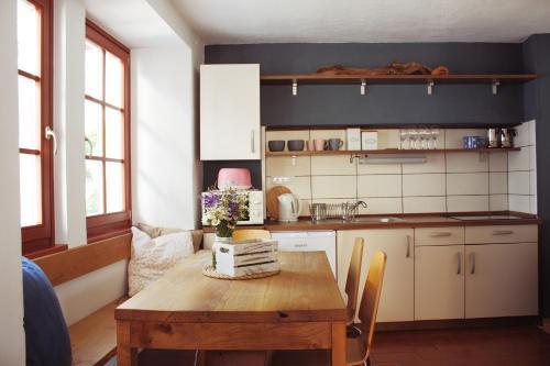 Kuhinja oz. manjša kuhinja v nastanitvi Hisa Rejmr