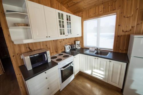 A kitchen or kitchenette at Gladheimar Cottages
