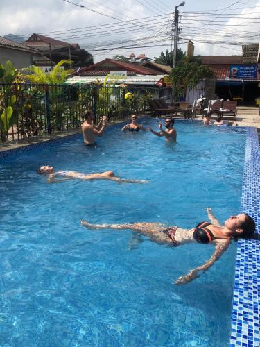 The swimming pool at or near Real Vang Vieng Backpacker Hostel