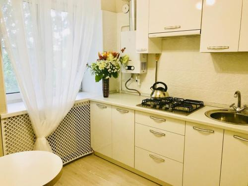 A kitchen or kitchenette at Апартаменты у Академии МЧС