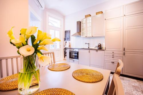 A kitchen or kitchenette at Premium Apartments Villa Herkules