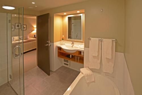A bathroom at Distinction Fox Glacier - Te Weheka Boutique Hotel