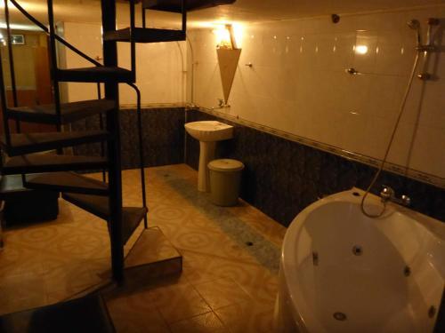 A bathroom at V2 hostel house