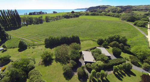 A bird's-eye view of Te Awanga Cottages