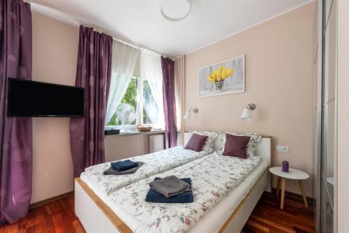 Postel nebo postele na pokoji v ubytování Przytulny Apartament przy Teatrze Wielkim