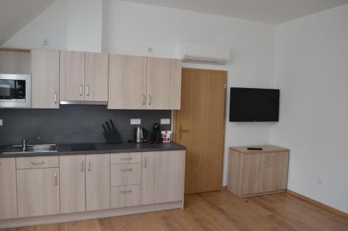 Kuchyň nebo kuchyňský kout v ubytování Penzion Nad Oborou