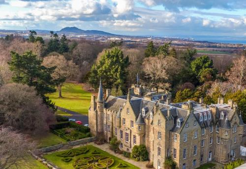 A bird's-eye view of Carberry Tower Mansion House and Estate
