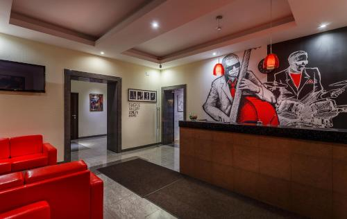 The lobby or reception area at Jazz Hotel