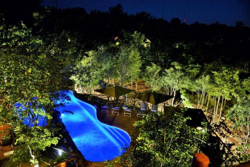 A view of the pool at Victoria Falls Safari Club or nearby
