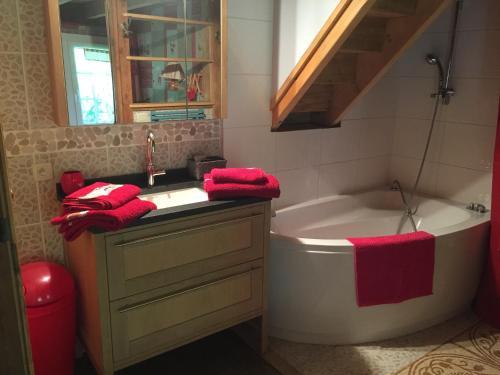 A bathroom at chalet des petits loups
