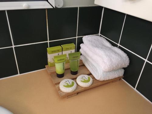A bathroom at Cannon Park Motel