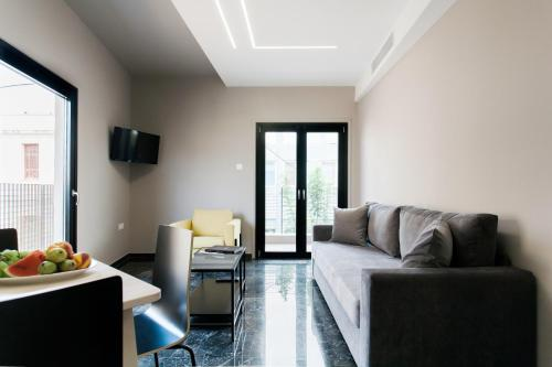 A seating area at Greece U Around Athens Thissio Suites