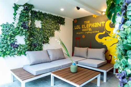 A seating area at The LOL Elephant Hostel