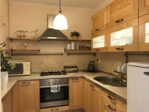 A kitchen or kitchenette at Apartament nad Jeziorem Chodzież