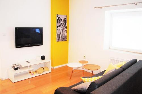 Een TV en/of entertainmentcenter bij dostupný soukromý byt v Praze
