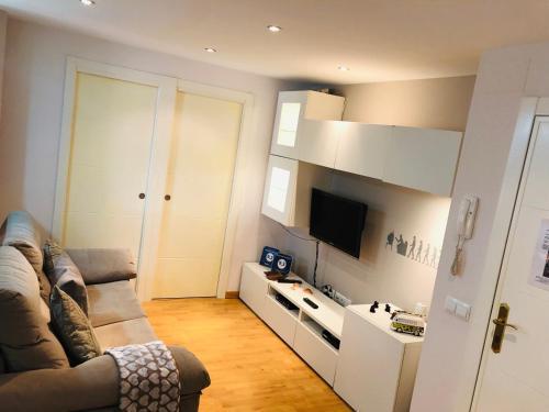 Una televisión o centro de entretenimiento en Apartamento Malagueta