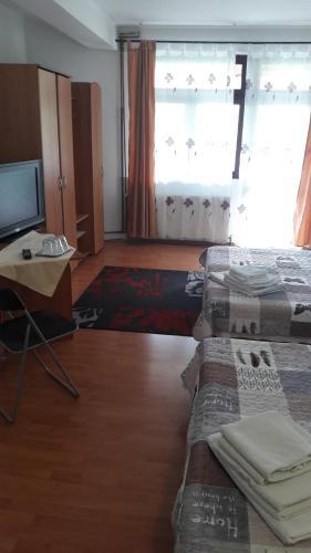A seating area at Pensiunea Soimul