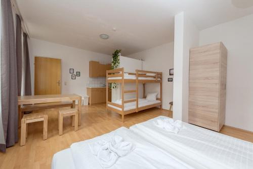 A bunk bed or bunk beds in a room at Gartl Apartments Vienna
