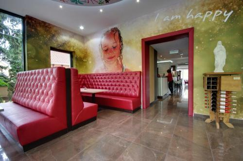 The lobby or reception area at Aqua Hotel