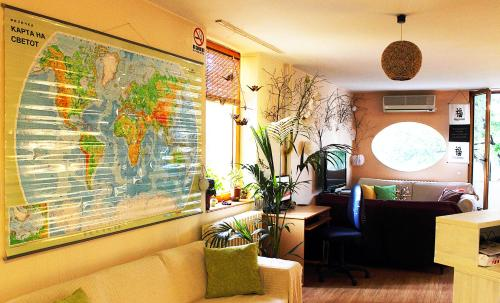 The lobby or reception area at Unity Hostel