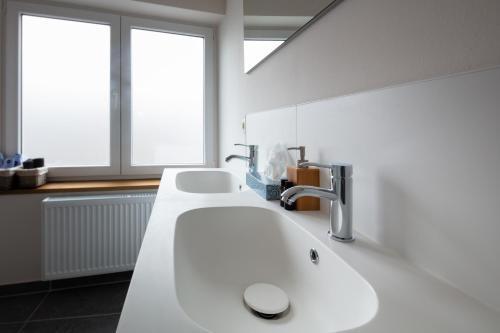 A bathroom at Big Baron