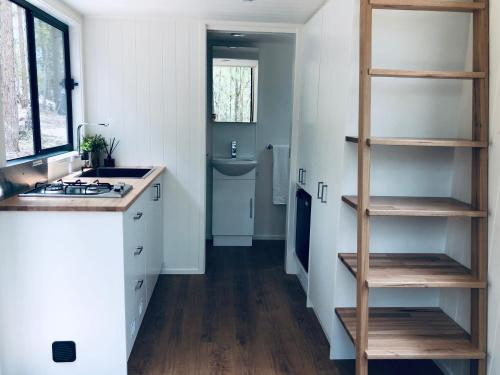 A kitchen or kitchenette at Robinson Crusoe Tiny House