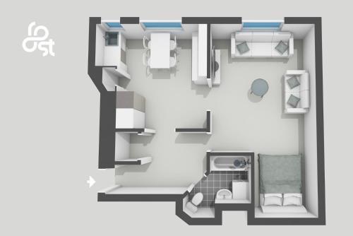 The floor plan of Roost Kruunuhaka