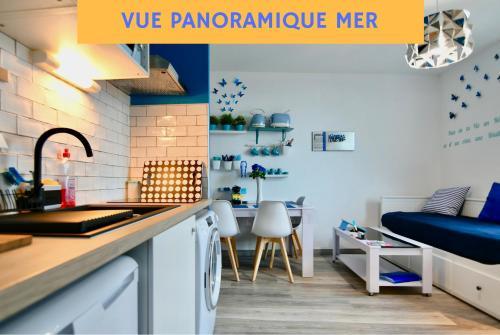 Cuisine ou kitchenette dans l'établissement Appart Cosy Brest 5 (vue mer)