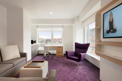 A seating area at YOTEL Boston