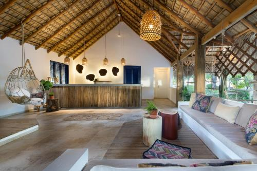 The lobby or reception area at Punta Rucia Lodge