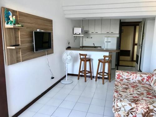 A cozinha ou cozinha compacta de Flat Vista Mar em Ótima Localização na Pituba