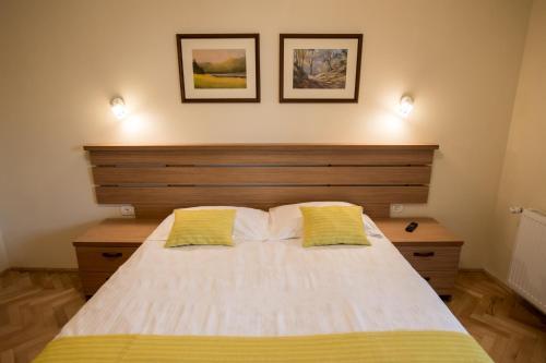 Un pat sau paturi într-o cameră la Vila Nicopole Art & Wine