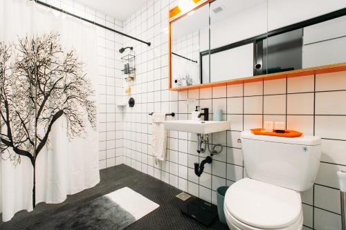 A bathroom at WeLive Wall Street